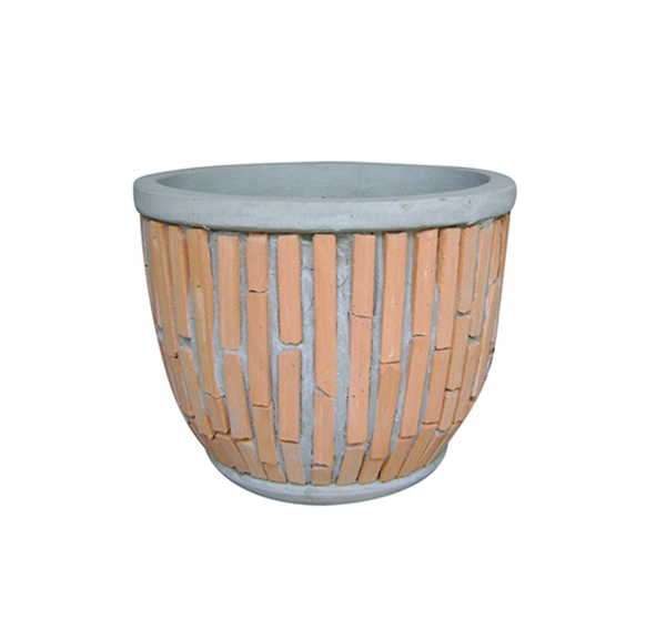 Teracotta Mosaic Pot Cement TQV_P26008