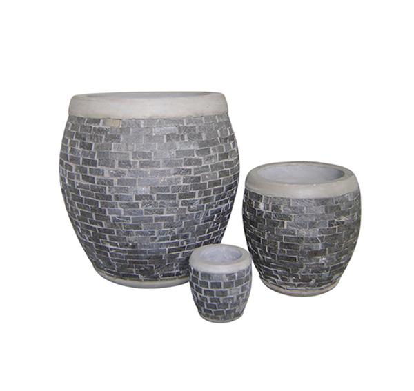 Stone Mosaic Pot Cement TQV_P26016