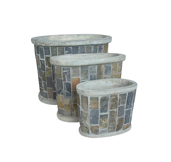 Stone Mosaic Pot Cement TQV_P26018