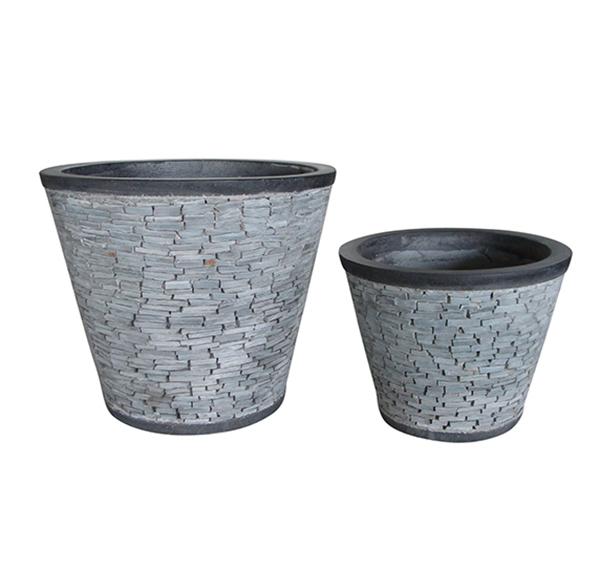 Stone Mosaic Pot Cement TQV_P26029