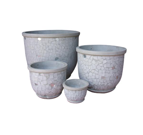 Stone Mosaic Pot Cement TQV_P26038