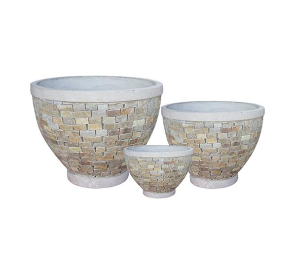 Stone Mosaic Pot Cement TQV_P26043