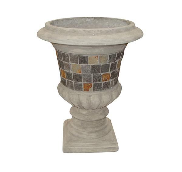 Stone Mosaic Pot Cement TQV_P26048